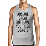 Abs Are Great Mens Heather Gray Sleeveless Tank Top Workout Top