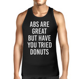 Abs Are Great But Mens Sleeveless Black Tank Top Typography Gym