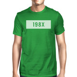 198X Men's Kelly Green Crew Neck T-Shirt Funny Graphic Summer Shirt
