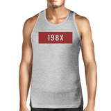 198X Mens Gray Cotton Sleeveless Top Simple Design Graphic Tanks