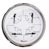 "Faria 5"" Multifunction Gauge Chesapeake White w/Stainless Steel - Fuel, Oil, Water & Voltmeter"