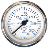 "Faria Chesapeake White SS 2"" Water Pressure Gauge - 30 PSI"