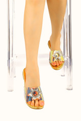 FROZEN IN THE PLACE PVC SLIDE WITH RHINESTONE EMBELLISHMENT-MERMAID