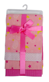 Pink Four Pack Receiving Blanket