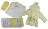 Yellow Infant Robe, Yellow Hooded Towel, Washcloths And Hand Washcloth Mitt - 7 Pc Set