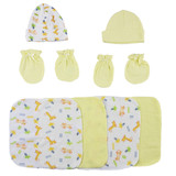 Caps, Mittens And Washcloths - 8 Pc Set