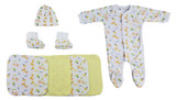 Caps, Booties And Washcloths - 9 Pc Set