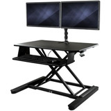 """StarTech.com Dual Monitor Sit Stand Desk Converter - 35"""" Wide - Height Adjustable Standing Desk Solution -Dual Arms for up to 24"""" Monitors"""