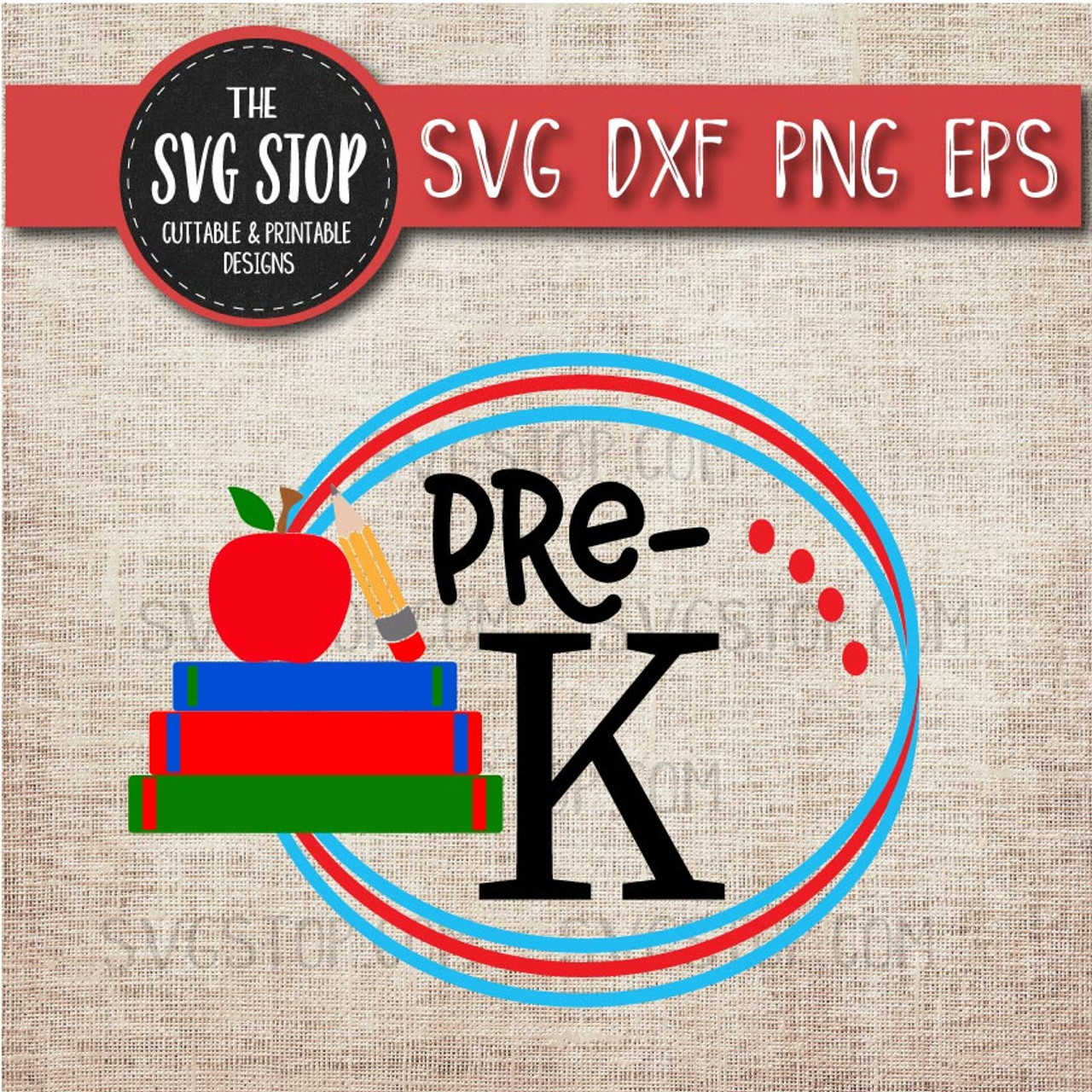 Pre K Back To School Circle Monogram Frame Svg Cut File Clipart