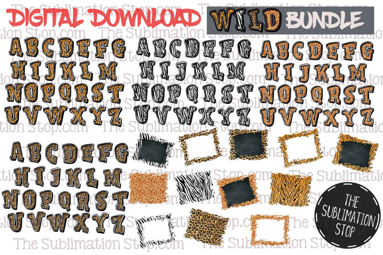 photo regarding Fonts Printable identify Wild Package - Animal Print Fonts Backsplashes Established - Sublimation Function Style and design - Printable - Print and Reduce - PNG Layout
