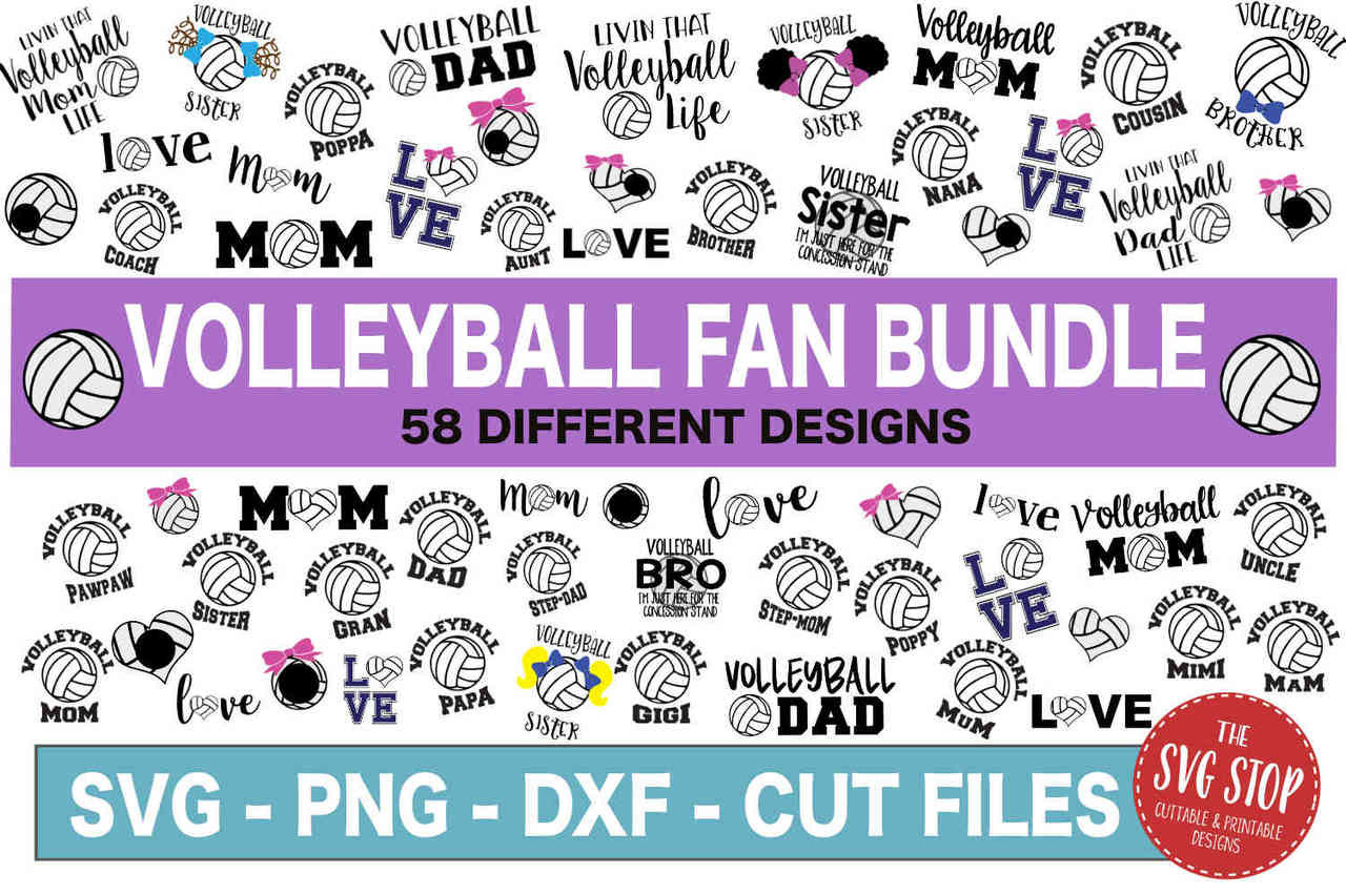 image about Volleyball Printable called Volleyball Supporter SVG Package - SVG Slice Document - SVG DXF PNG EPS Formats - Clipart