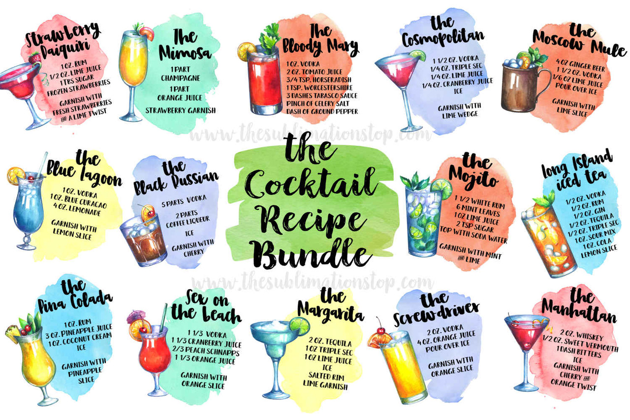 picture regarding Printable Designs titled Cocktail Recipe Package - Sublimation Style and design - PNG Printable Record - Clipart