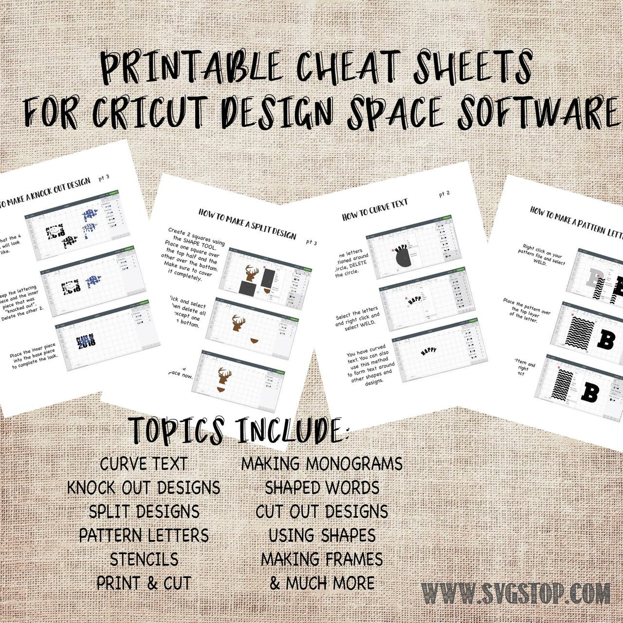 graphic about Printable Cheat Sheet named Printable Cheat Sheets for Cricut Layout Room - Newcomers Advisor Towards Developing Lower Documents