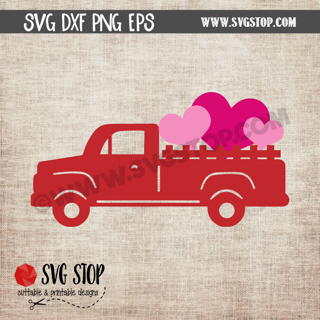Valentine Vintage Truck With Hearts The Svg Stop Cuttable Printable Designs