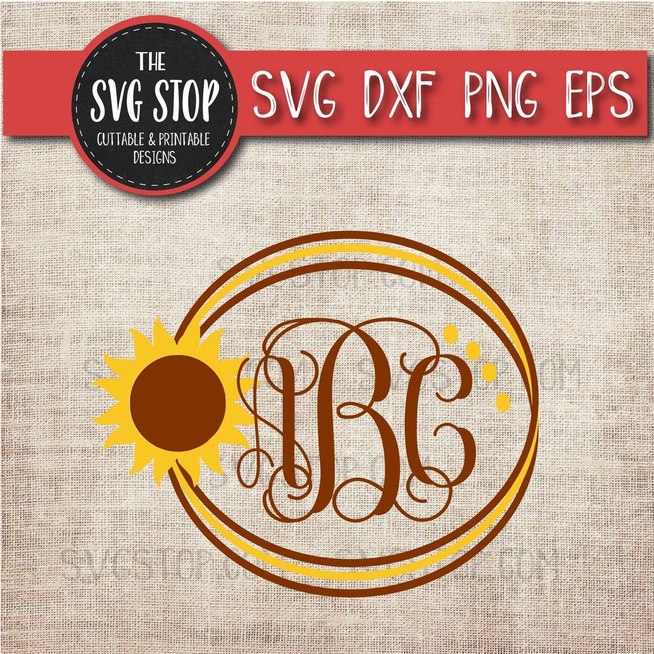 Download Sunflower Circle Monogram Frame Svg Cut File Clipart | The ...
