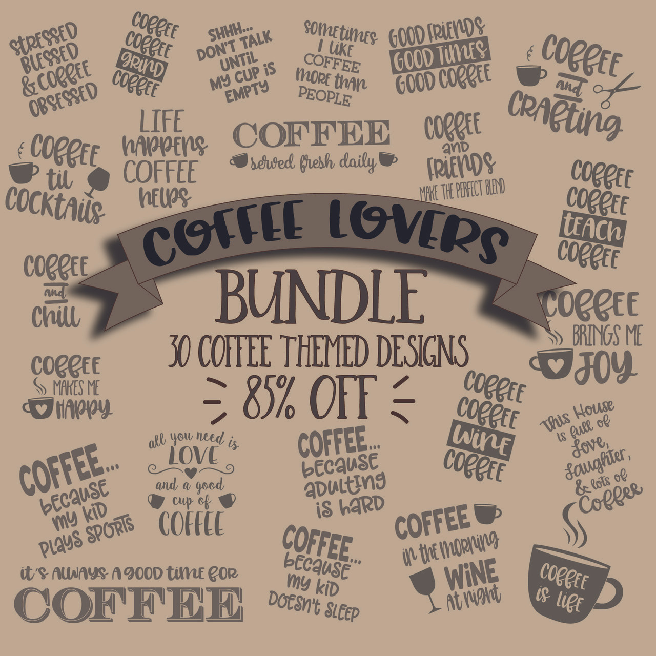 Download Coffee Lovers Bundle Svg Cut File Clipart | The SVG Stop