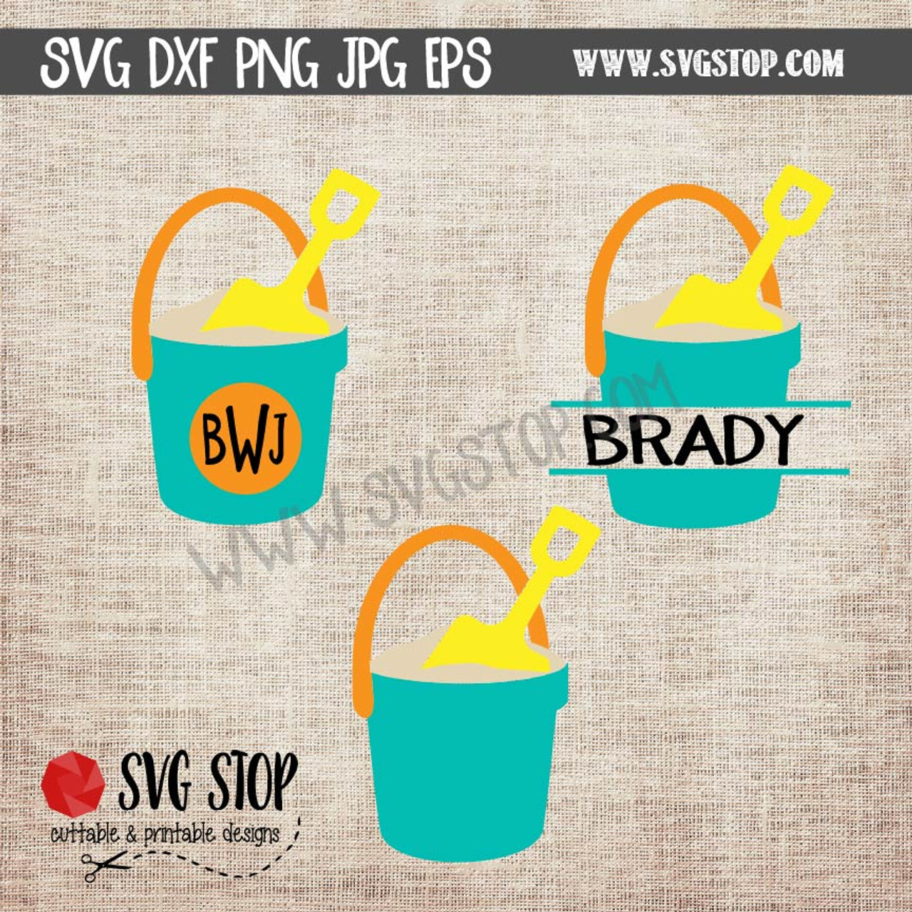 6cc5c3e5f9c9 beach bucket monogram frame summer svg clipart cut file