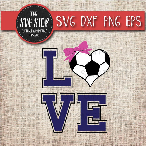 love Football soccer heart bow svg clipart cut file sublimation design
