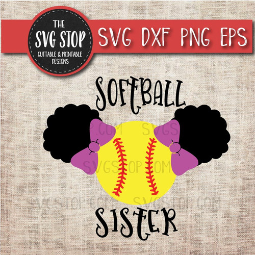 Softball sister sibling pigtails puffs svg clipart cut file sublimation design