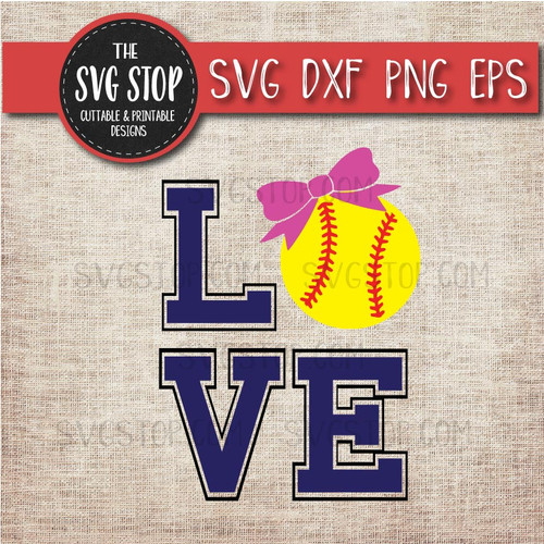 love Softball Bow svg clipart cut file sublimation design