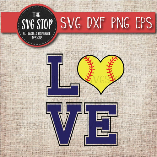 love Softball Heart svg clipart cut file sublimation design