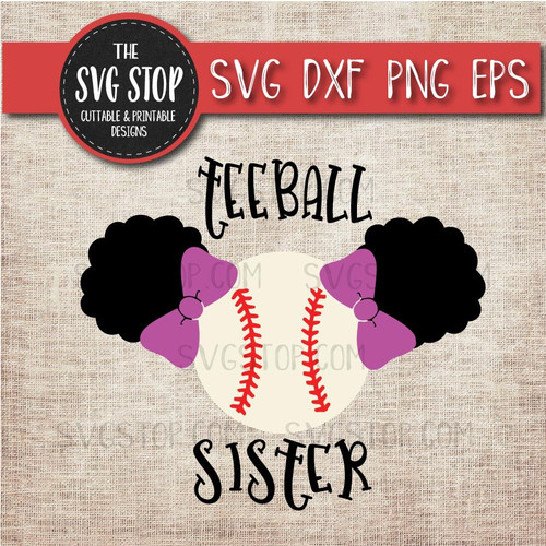 Teeball sister sibling pigtails puffs svg clipart cut file sublimation design
