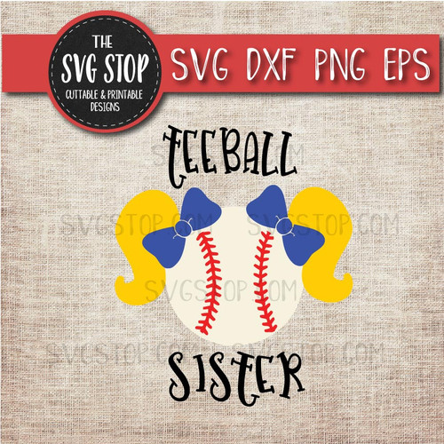 Teeball sister sibling pigtails svg clipart cut file sublimation design