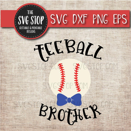 Teeball brother sibling bowtie svg clipart cut file sublimation design