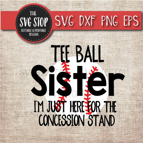 Teeball sister sibling concession stand svg clipart cut file sublimation design