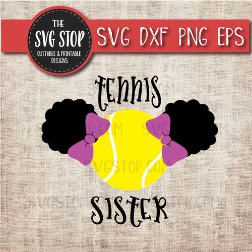 Tennis sister sibling pigtails puffs svg clipart cut file sublimation design