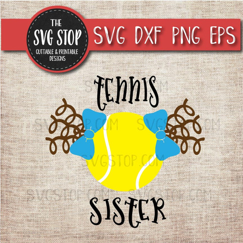 Tennis sister sibling pigtails curls svg clipart cut file sublimation design