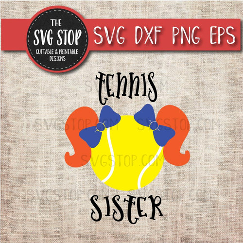 Tennis sister sibling pigtails svg clipart cut file sublimation design