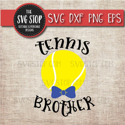 Tennis brother sibling bowtie svg clipart cut file sublimation design