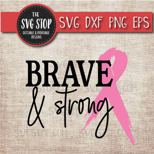 pink awareness ribbon brave strong breast cancer svg clipart cut file