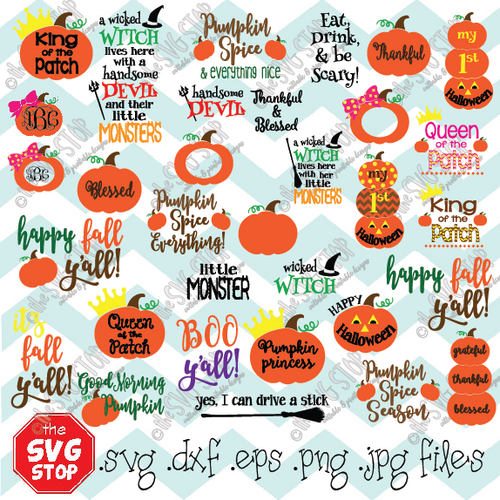 Our FALL MINI BUNDLE contains over 30 fall themed designs.