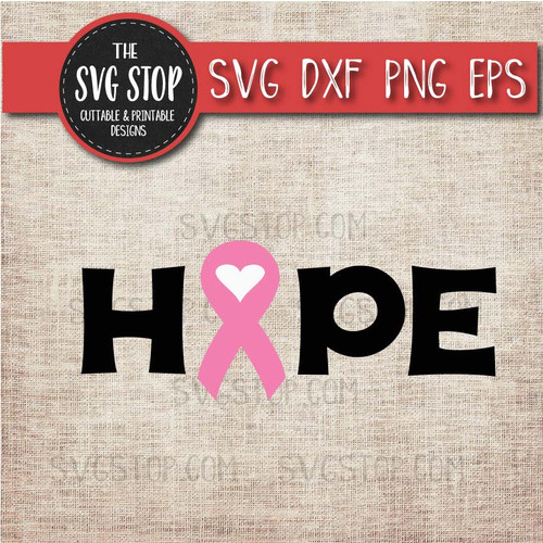 pink awareness ribbon hope breast cancer svg clipart cut file