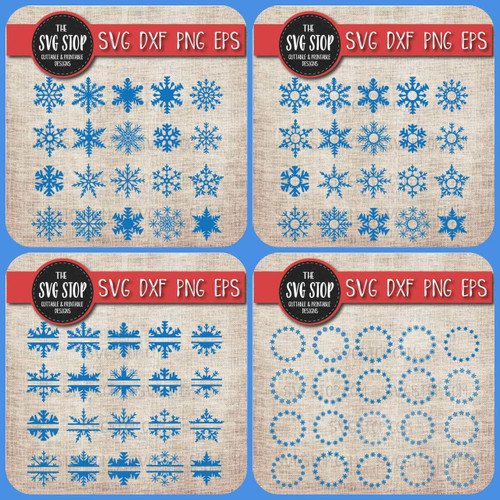 snowflake clipart cut file svg sublimation design split snowflake monogram circle frames bundle