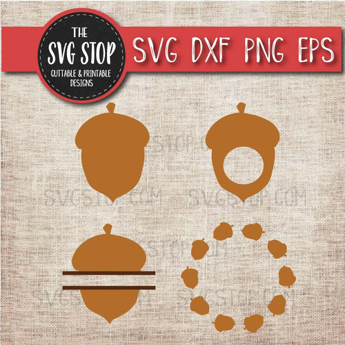 acorn clipart cut file svg sublimation design split acorn monogram circle frames bundle fall