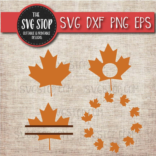 fall leaf clipart cut file svg sublimation design split leaf monogram circle frames bundle