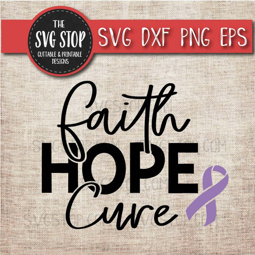 faith hope cure lavender awareness ribbon cancer svg clipart cut file