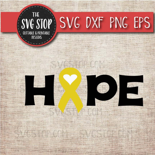 yellow awareness ribbon cancer svg clipart cut file hope