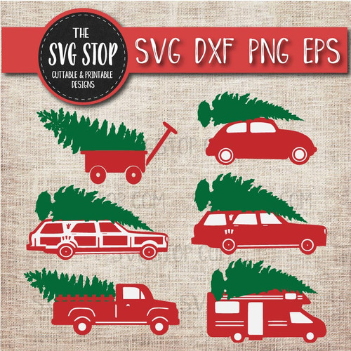 Christmas tree vehicles wagon rv camper vw bug car christmas vacation camper vintage truck clipart cut file svg sublimation design
