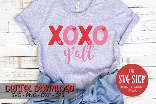 xoxo yall Valentine digital design svg clipart cut file sublimation printing