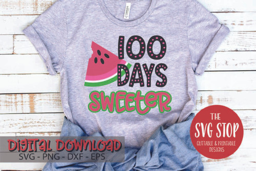 100 days of school design sweeter watermelon digital design svg clipart cut file sublimation printing
