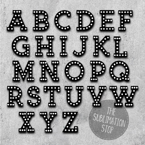 Black Marquee Font Sublimation Letters Svg Stop