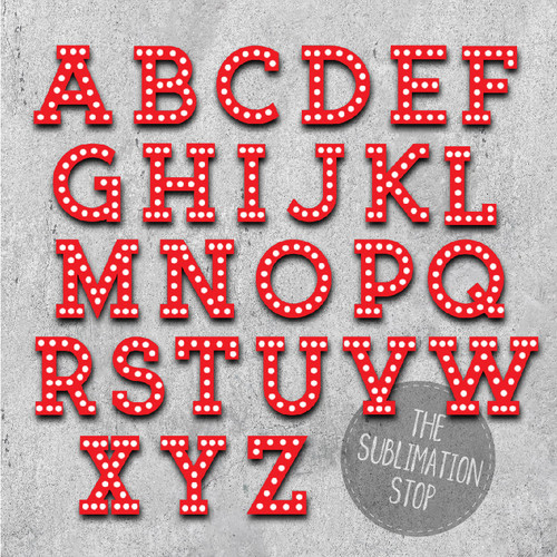 Red Marquee Font Sublimation Letters Svg Stop
