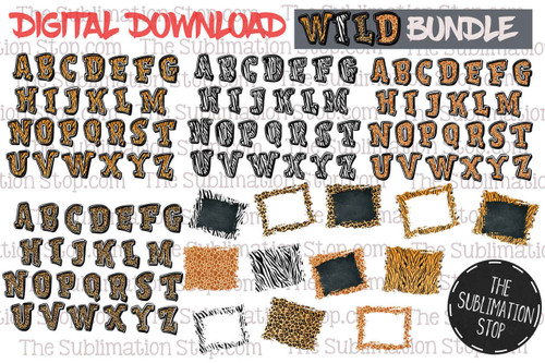 Wild Bundle animal print fonts and backsplashes