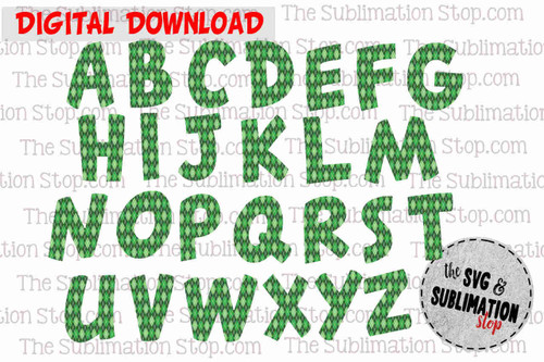 Green Argyle sublimation printing letters font