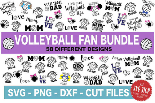 Volleyball fan svg cut file clipart bundle dxf png sublimation designs