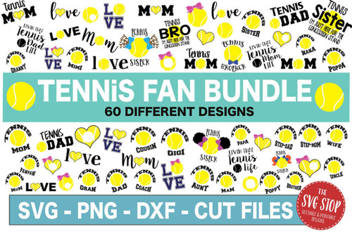 Tennis fan svg cut file clipart bundle dxf png sublimation designs